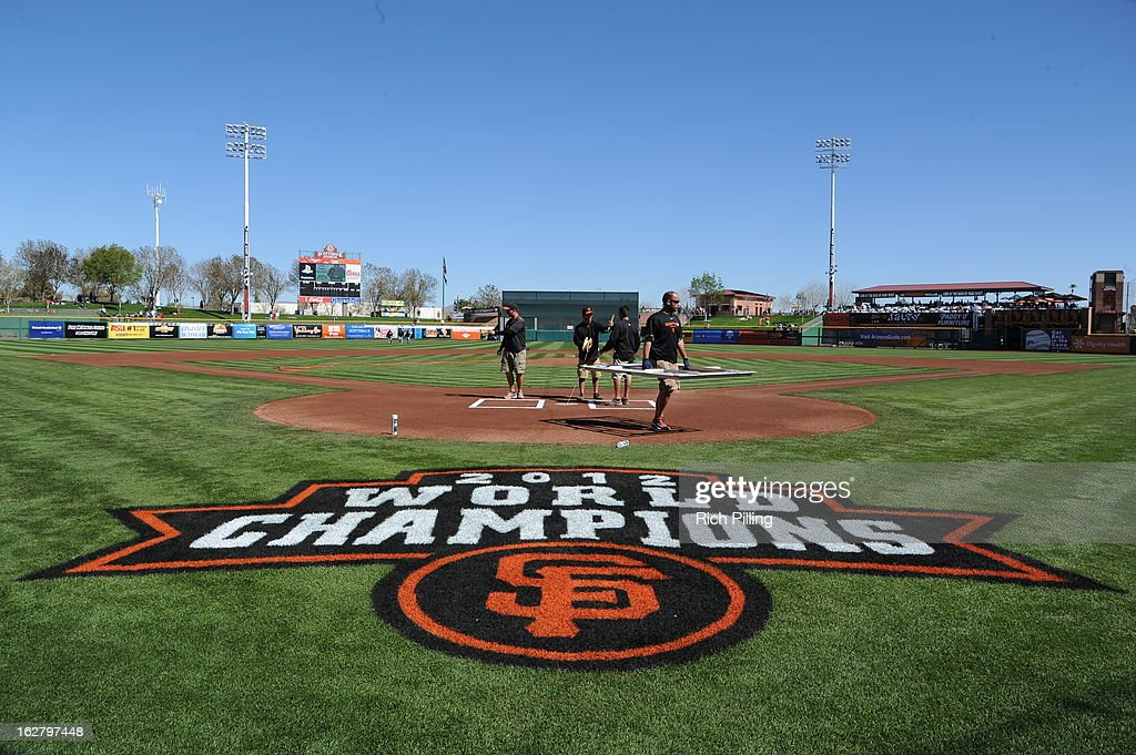 The ground crew prepare the filed of Scottsdale Stadium prior to the game between the San Francisco Giants and Chicago White Sox on Monday, February 25, 2013 at Scottsdale Stadium in Scottsdale, Arizona. The Giants and White Sox played to a 9-9 tie.