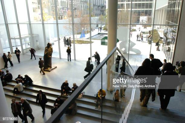 The ground floor and outdoor sculpture garden at the newly renovated Museum of Modern Art which reopens at its old E 53rd St location this Saturday...
