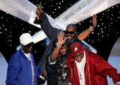 BROADCAST*** The group 36 Mafia accept the Achievement in Music written for Motion Picture onstage during the 78th Annual Academy Awards at the Kodak...