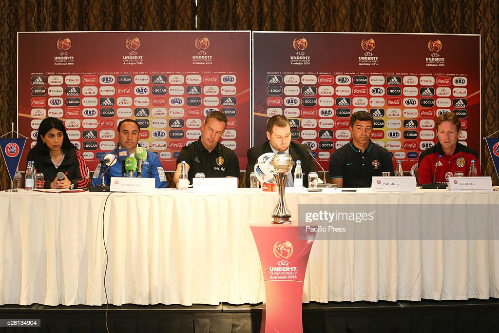 The Group A coaches (L-R) Tabriz Hasanov (Azerbaijan), Thierry Siquet (Belgium), H��lio Sousa (Portugal), and Scot Gemmill (Scotland) attends the pre-tournament press conference during a UEFA European Under-17 Championship in Azerbaijan press conference at the Boulevard Hotel Baku.