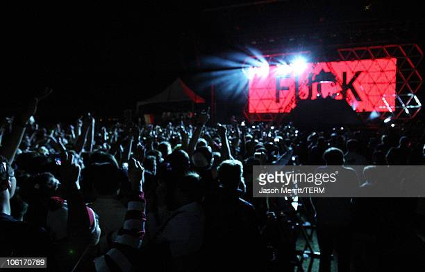 The group 'Daft Punk' performs during the Vegoose Music Festival 2007 at Sam Boyd Stadium on October 27 2007 in Las Vegas Nevada