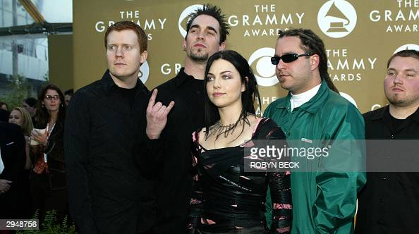 The group Evanescence arrives for the 46th Annual Grammy Awards 08 February 2004 at the Staples Center in Los Angeles The group in nominated for Best...
