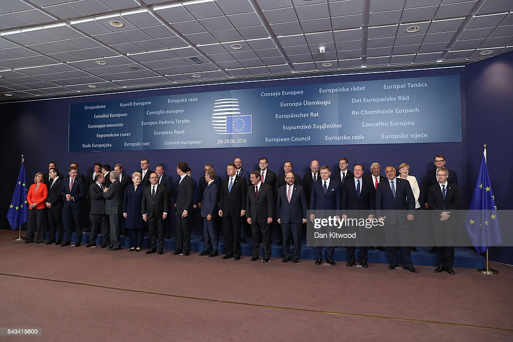The group family photo with the European Council during a European Council Meeting at the Council of the European Union on June 28, 2016 in Brussels, Belgium. British Prime Minister David Cameron will hold talks with other EU leaders in what will likely be his final scheduled meeting with the full European Council before he stands down as Prime Minister. The meetings come at a time of economic and political uncertainty following the referendum result last week which saw the UK vote to leave the European Union.