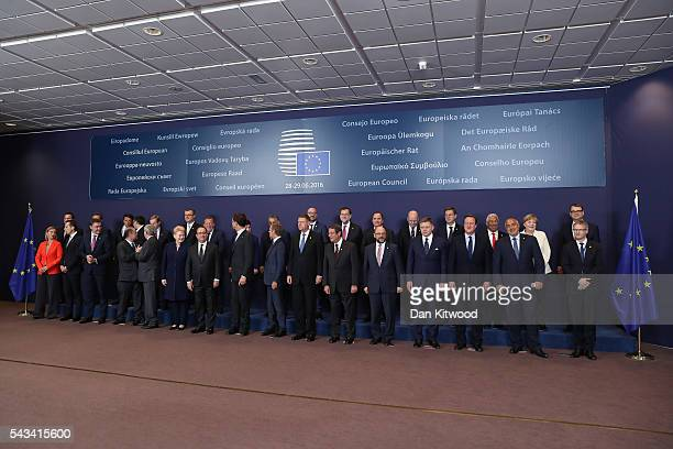 The group family photo with the European Council during a European Council Meeting at the Council of the European Union on June 28 2016 in Brussels...