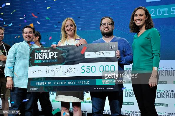 The group from Agrilyst celebrates winning Startup Battlefield onstage during TechCrunch Disrupt SF 2015 at Pier 70 on September 23 2015 in San...