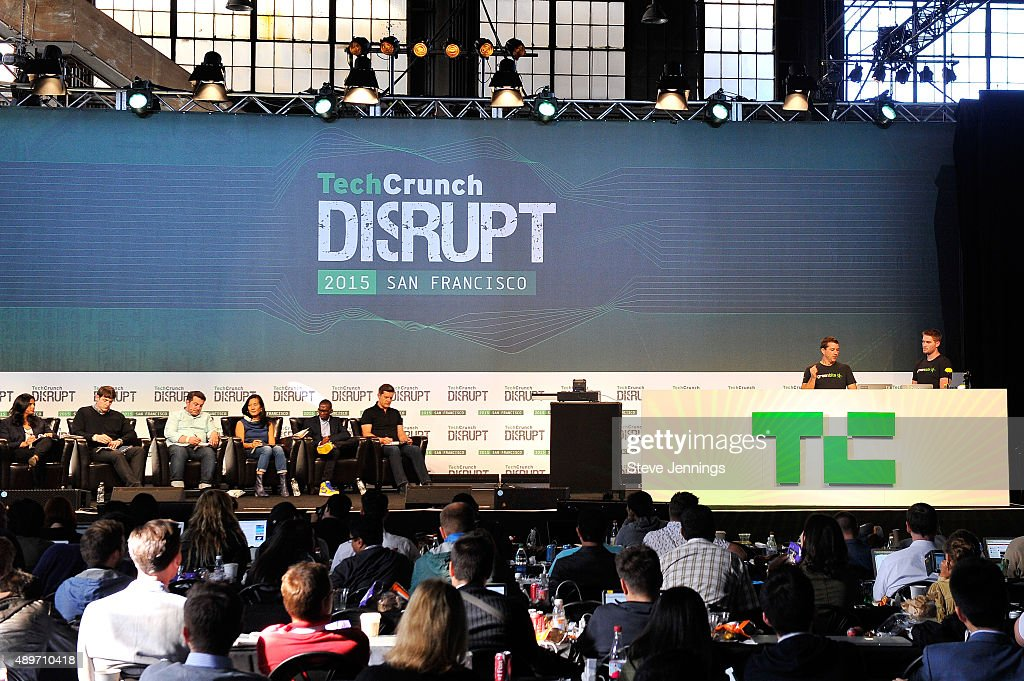 The group from Green Bits presents to the judges onstage during the Startup Battlefield Finals of TechCrunch Disrupt SF 2015 at Pier 70 on September...
