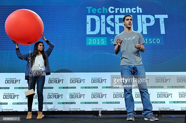 The group from Harvest speaks on stage after being named second runnerup in the TechCrunch Disrupt SF 2015 Hackathon at Pier 70 on September 23 2015...