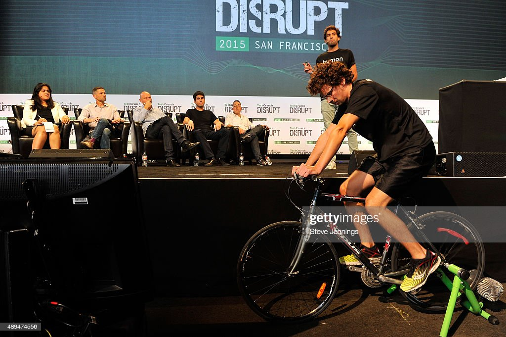 The group from Humon presents to the judges during Startup Battlefield on day one of TechCrunch Disrupt SF 2015 at Pier 70 on September 21 2015 in...