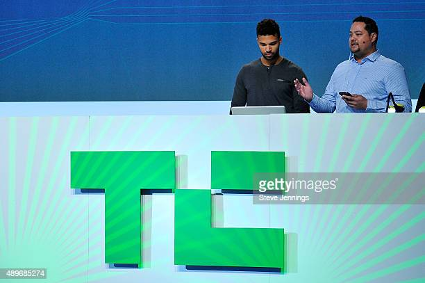 The group from PitchPal speaks on stage after being runnerup in the TechCrunch Disrupt SF 2015 Hackathon at Pier 70 on September 23 2015 in San...