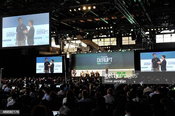 The group from Rolloutio presents to the judges onstage during Startup Battlefield on day two of TechCrunch Disrupt SF 2015 at Pier 70 on September...