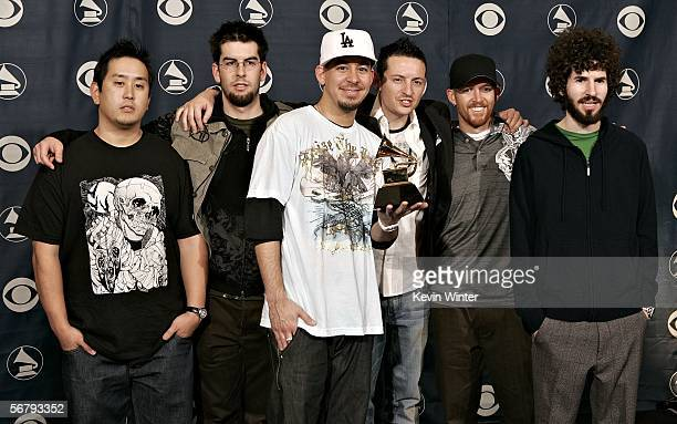 The group Linkin Park with their award for Best Rap/Sung Collaboration poses in the press room at the 48th Annual Grammy Awards at the Staples Center...