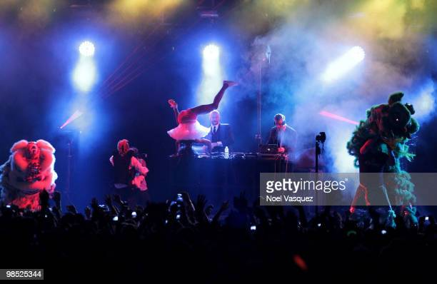 The group Major Lazer performs during day two of the Coachella Valley Music Arts Festival 2010 held at the Empire Polo Club on April 17 2010 in Indio...
