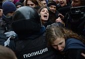 The group members of Russian Pussy Riot Nadezhda Tolokonnikova and Maria Alyokhina are taken into custody by Russian police during the protest to...