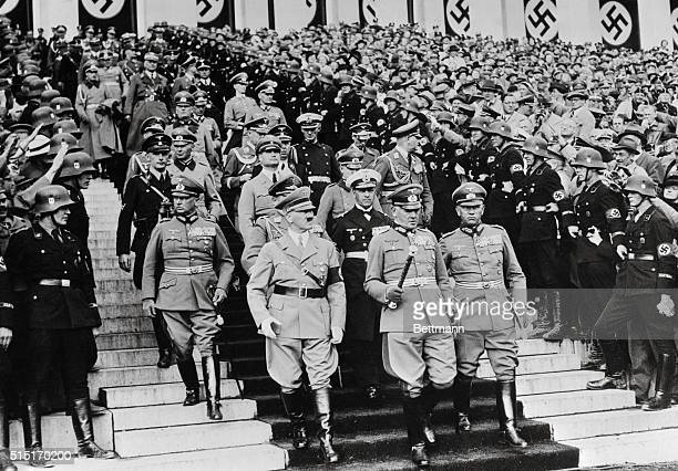 The group of high Nazi officials as they arrived at the Zeppelin Field for the review of 100000 men from Germany's armed forces at the conclusion of...