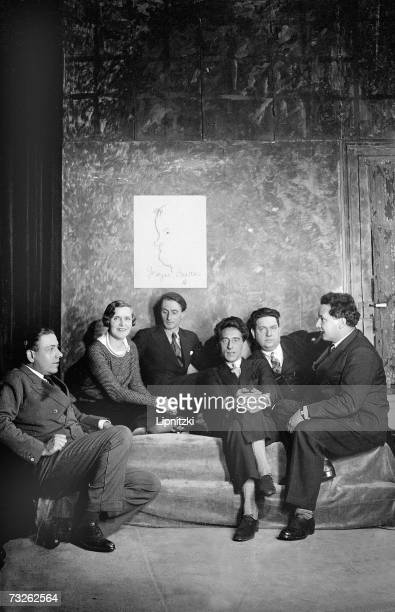 The group of the Six from left to right Francis Poulenc Germaine Tailleferre Louis Durey Jean Cocteau French writer Georges Auric Darius Milhaud and...