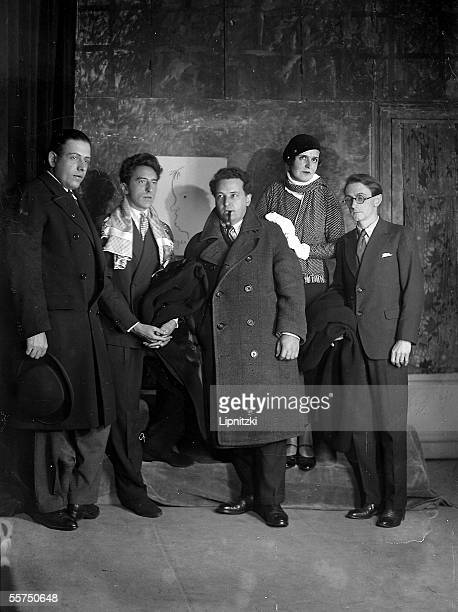 The group of the Six From left to right Francis Poulenc Jean Cocteau Arthur Honegger Germaine Tailleferre Louis Durey and on the drawing Georges...