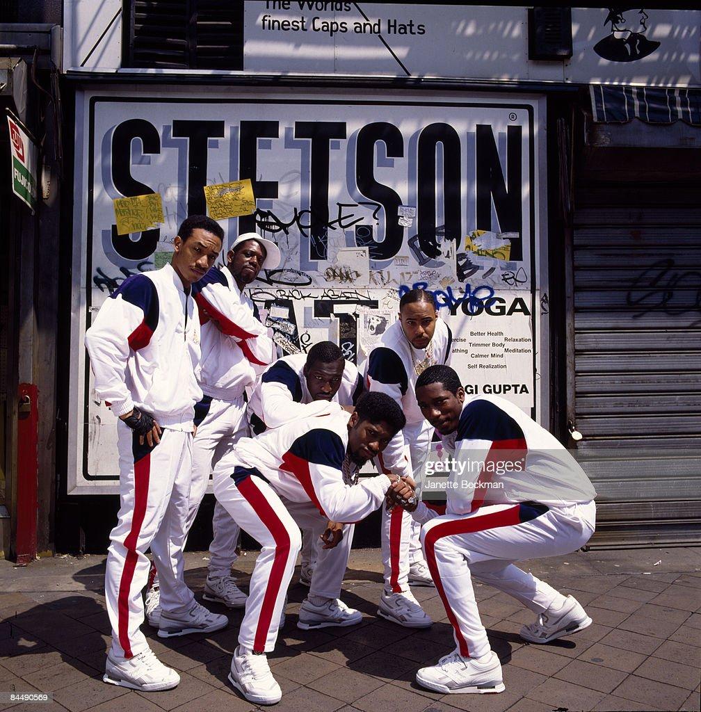 The group Stetsasonic poses on a Brooklyn, New York sidewalk, 1988.