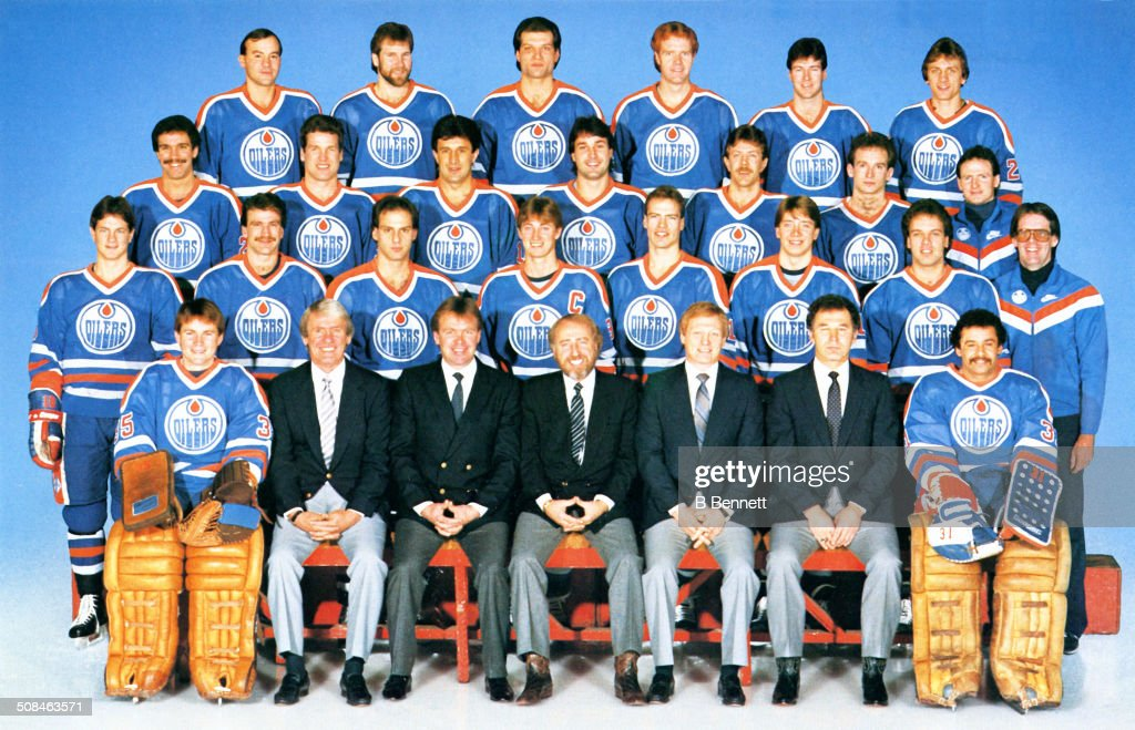 The group team photo of the Edmonton Oilers from the 1983-84 season in Edmonton, Alberta, Canada.
