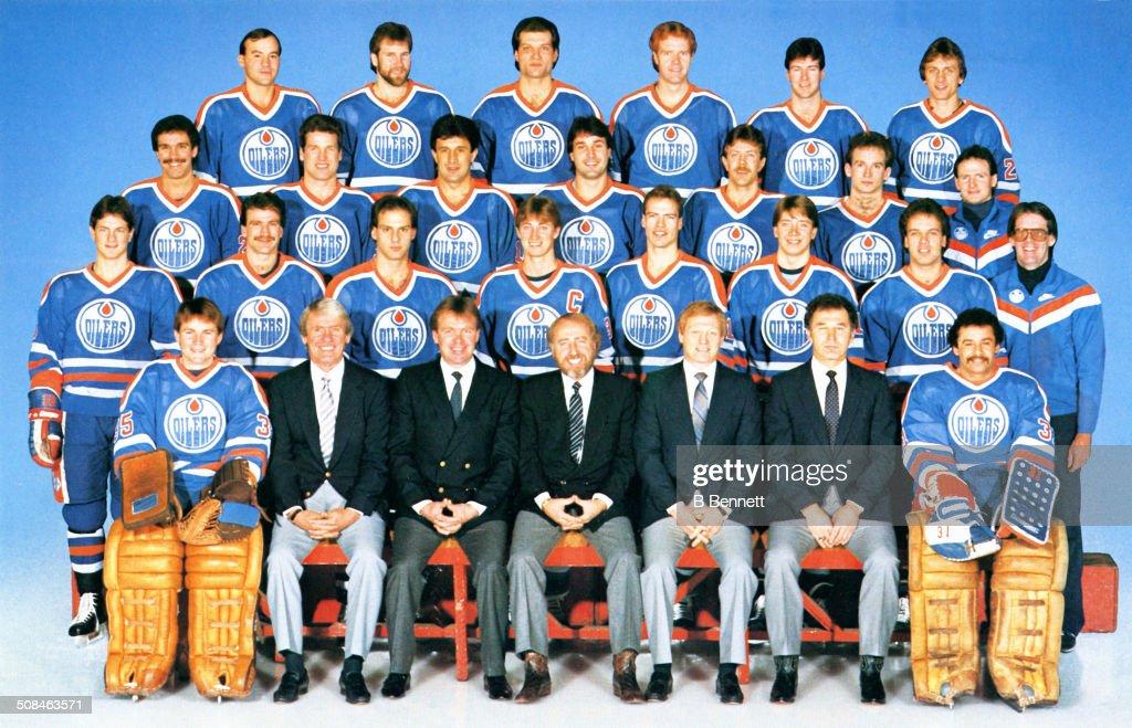 The group team photo of the Edmonton Oilers from the 198384 season in Edmonton Alberta Canada