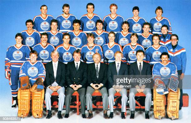 The group team photo of the Edmonton Oilers from the 198384 season in Edmonton Alberta Canada