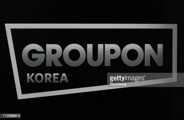 The Groupon Inc logo is displayed at a venue for the company's launching ceremony in Seoul South Korea on Monday March 14 2011 Groupon Inc owner of...