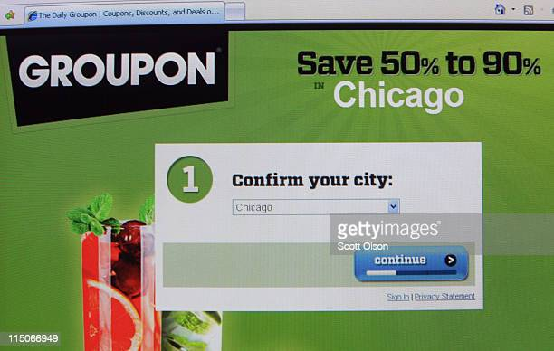 The Groupon logo is displayed on the company's website June 2 2011 in Chicago Illinois Groupon announced today that it has filed with the Securities...