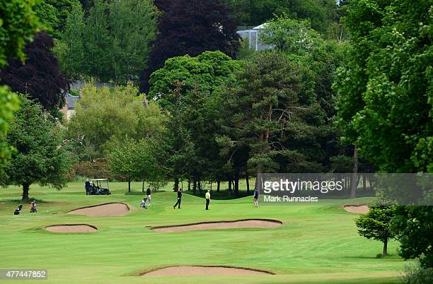 The groups from Carrick on Loch Lomond Fereneze Golf Club Dalmuir Golf Club and Caldwell Golf Club on the scenic 17th green during the Golfbreakscom...