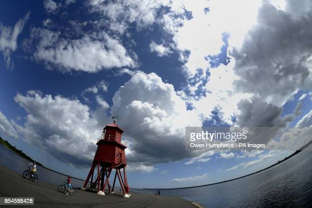 The Groyne in South Shields at the mouth of the Tyne where the river joins the North Sea