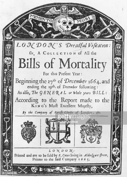 1665 The gruesome title page of all London's Bills of Mortality taken between 27th December 1664 and 19th December 1665 during the Great Plague
