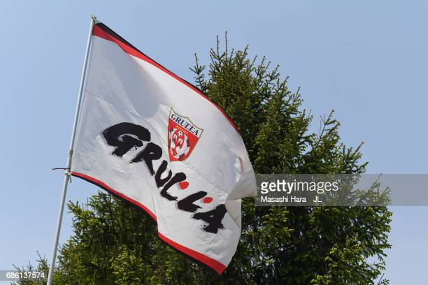 The Grulla Morioka flag waves prior to the JLeague J3 match between Grulla Moroika and FC Tokyo U23 at Iwagin Stadium on May 21 2017 in Morioka Iwate...