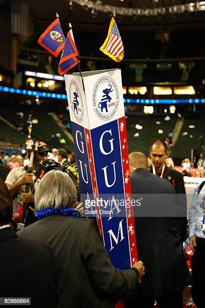 The Guam delegate signs caried away on day four of the Republican National Convention at the Xcel Energy Center on September 4 2008 in St Paul...