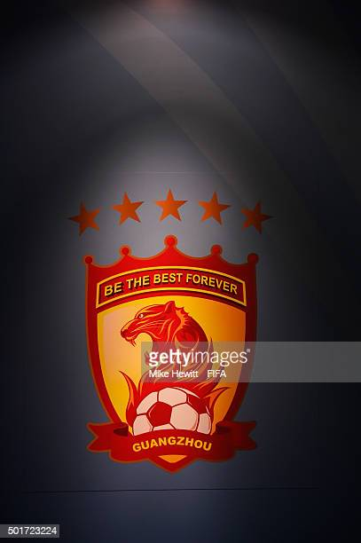 The Guangzhou Evergrande FC logo is lit up in the tunnel ahead of the FIFA Club World Cup Japan 2015 Semi Final match between Barcelona and Guangzhou...