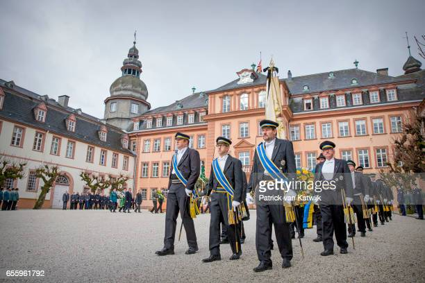 The Guard of honor attend the funeral service of Prince Richard zu SaynWittgensteinBerleburg at the Evangelische Stadtkirche on March 21 2017 in Bad...