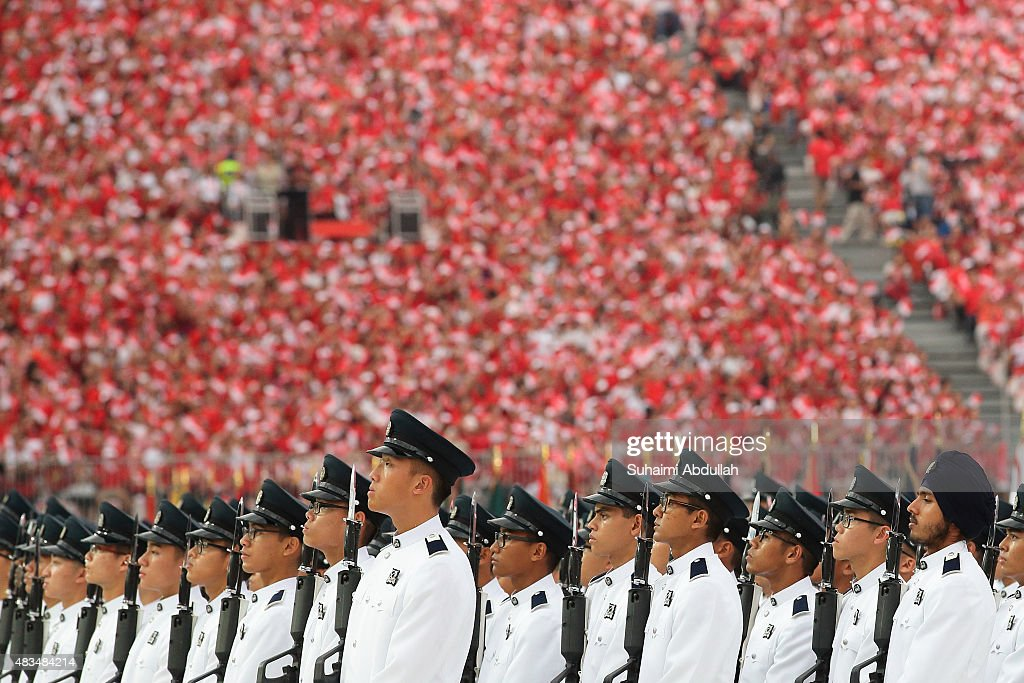 The guard of honour contingent is seen during the National Day Parade at Padang on August 9, 2015 in Singapore. Singapore is celebrating her 50th year of independence on August 9, 2015.
