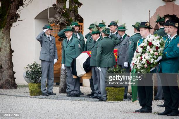 The guard og honor carries the casket at the funeral service of Prince Richard zu SaynWittgensteinBerleburg at the Evangelische Stadtkirche on March...