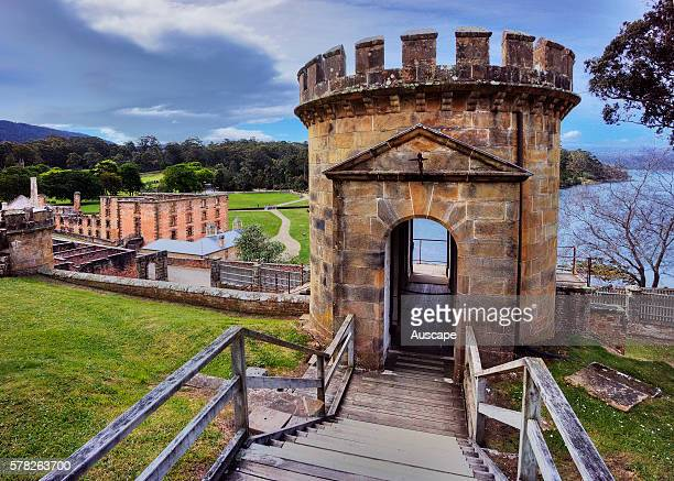 The Guard Tower at Port Arthur built with convict labor in 1836 as a central element of the military complex of the penal colony Port Arthur Historic...