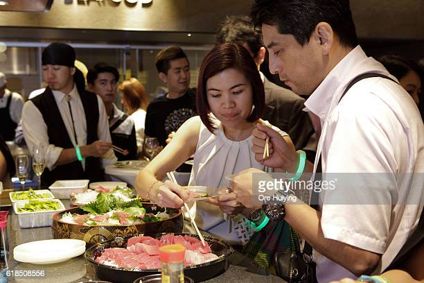 The guests enjoy fresh food at the casual dining space Noren in the ISETAN The Japan Store Kuala Lumpur LGF THE MARKET section during the ISETAN The...
