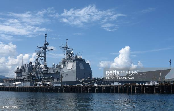 The guided missile cruiser USS Shiloh is anchored at Subic Bay a former US naval base in the Philippines on May 30 as part of an ongoing US military...