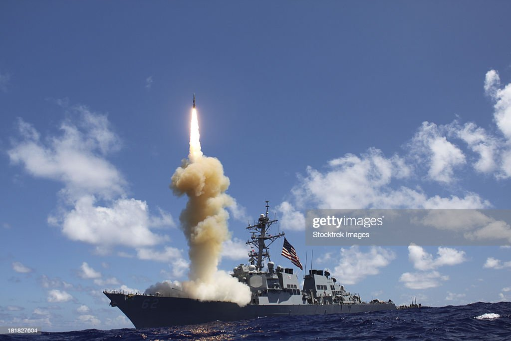 The guided-missile destroyer USS Fitzgerald launches a Standard Missile-3.