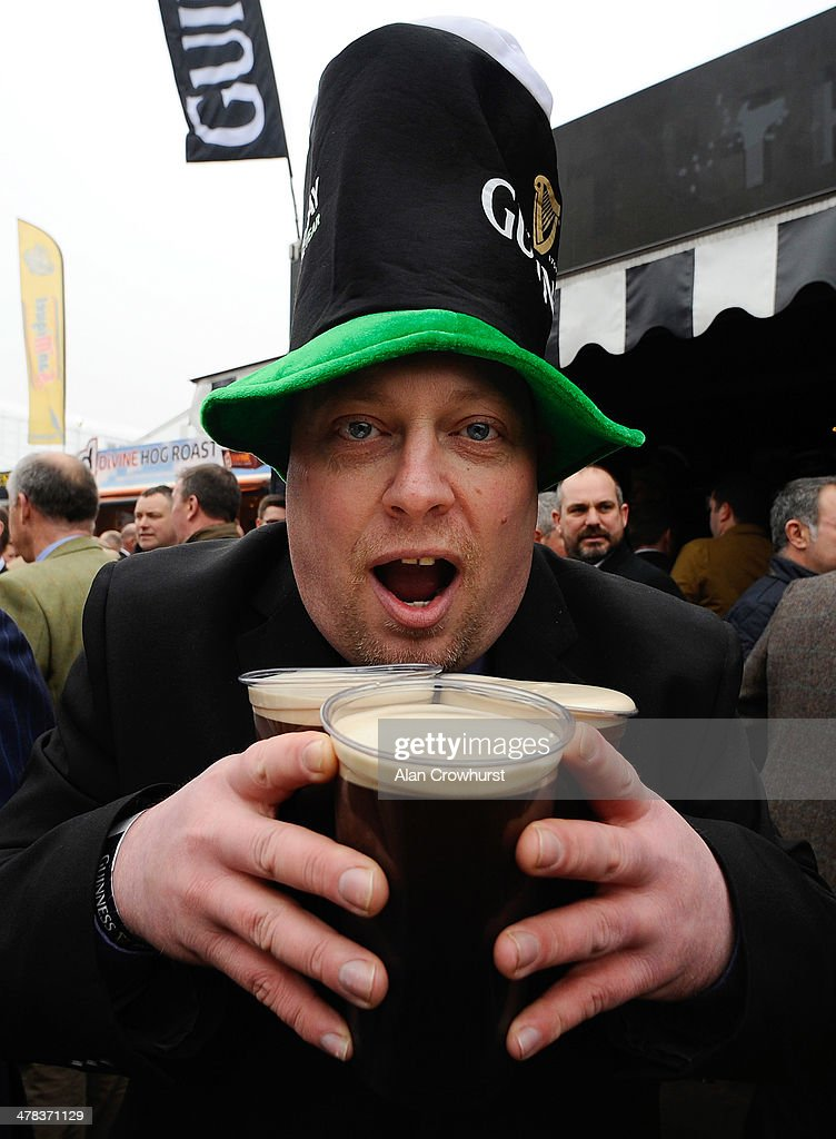 The Guinness village on St Patrick's Thursday during the Cheltenham Festival at Cheltenham racecourse on March 13 2014 in Cheltenham England