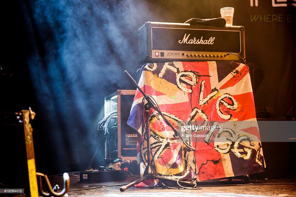 The guitar rig for Steve Diggle from The Buzzcocks who performed on the third day of the BBC 6 Music Festival at the O2 Academy on February 14, 2016 in Bristol, England.