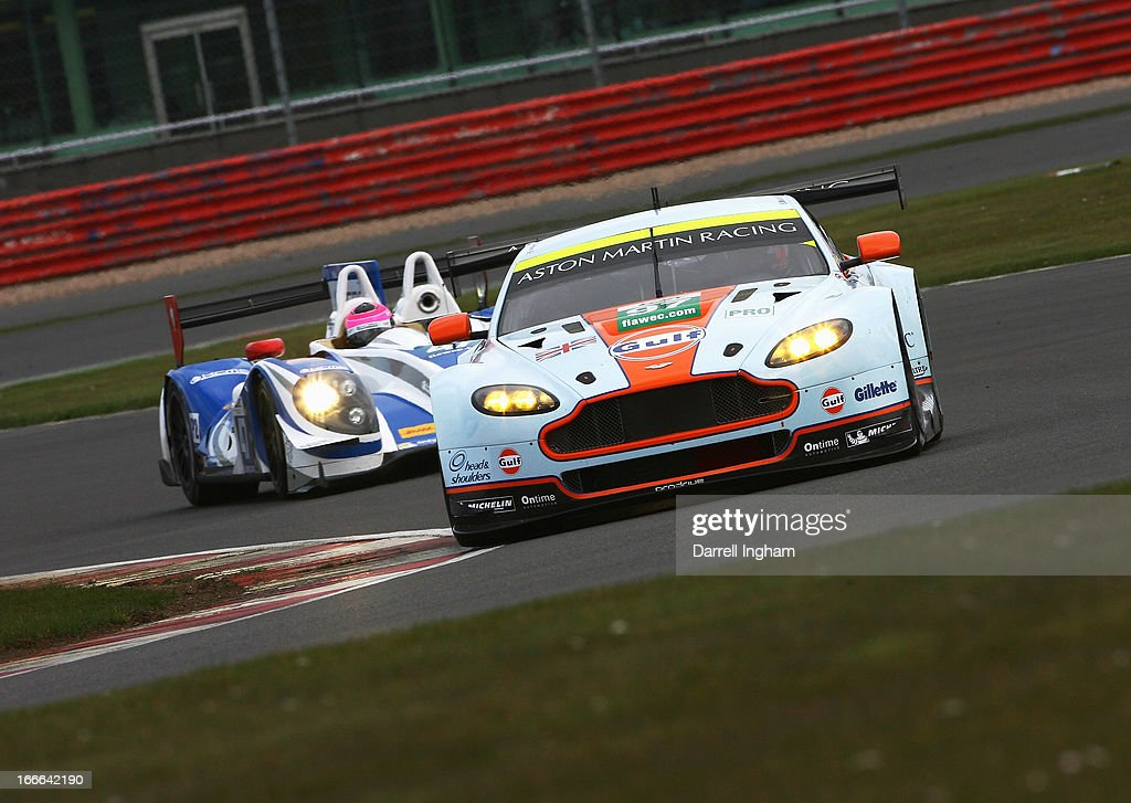 The Gulf AMR Aston Martin Vantage V8 driven by Darren Turner of Great Britain and Bruno Senna of Brazil during the FIA World Endurance Championship 6...