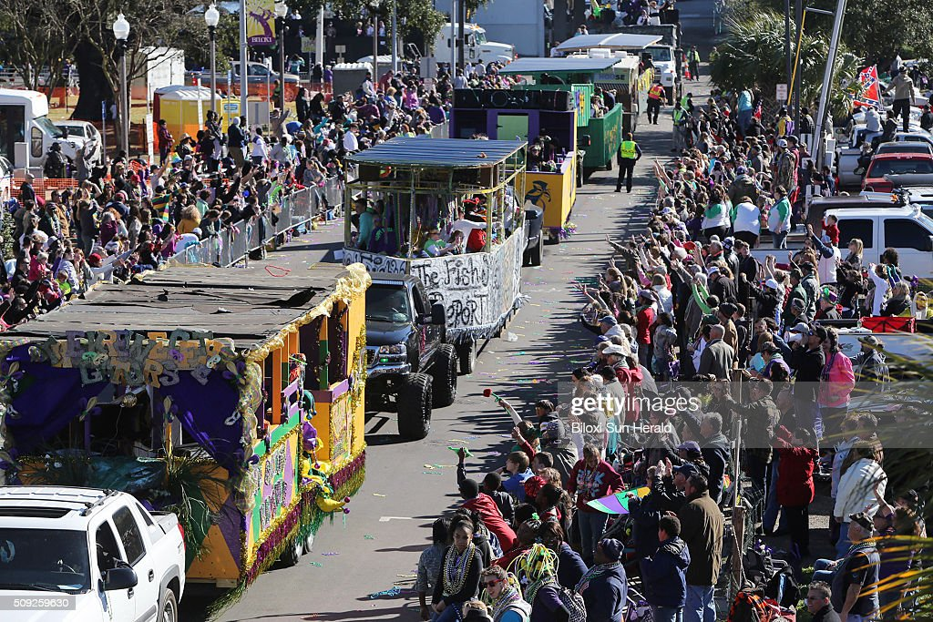 The Gulf Coast Carnival Association Mardi Gras Parade rolls up Lemeuse Street in Biloxi, Miss., on Tuesday, Feb. 9, 2016. Three parades rolled in South Mississippi on Fat Tuesday, the last day of carnival season, celebrated before the beginning of Lent.