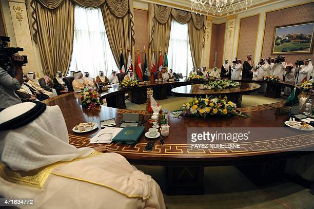 The Gulf foreign ministers takes part in a meeting to discuss the war in Yemen on April 30 2015 in the Saudi capital Riyadh few days ahead of the...