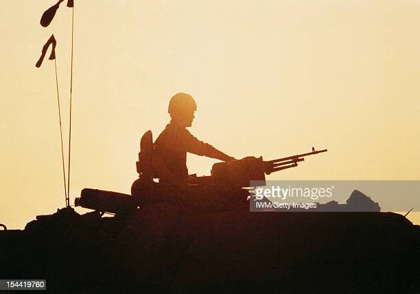 The Gulf War 1990 1991 Silhouette of Challenger tank crewman in turret circa 1991