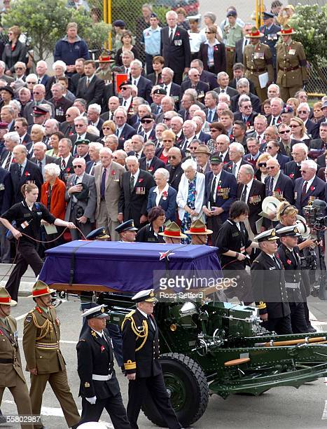 The gun carriage carrying the casket of the unknown warrior arrives at the National War Memorial Wellington New Zealand Wednesday November 11 2004