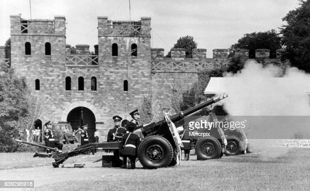 The Guns of the C Glamorgan Yeomanry of the Royal Artillary Volunteers give a 21 gun salute at Cardiff Castle to mark the 83rd birthday of the Queen...
