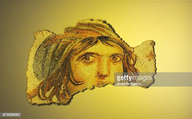 The 'Gypsy Girl' mosaic fragment which was discovered in 1999 by Gaziantep Museum in Zeugma is seen at Zeugma Mosaic Museum in Gaziantep Turkey on...