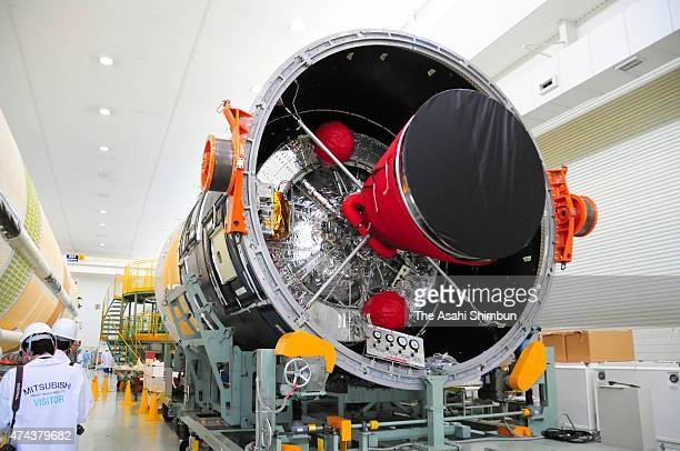 The H2B5 launch vehicle rocket is unveiled at the Mitsubishi Heavy Industries Tobishima factory on May 22 2015 in Tobishima Aichi Japan The rocket...