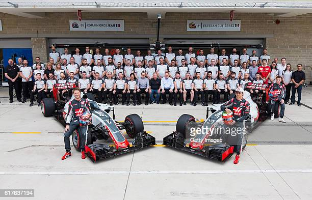 The Haas F1 team photo featuring Romain Grosjean of France and Haas F1 Esteban Gutierrez of Mexico and Haas F1 Haas F1 Founder and Chairman Gene Haas...